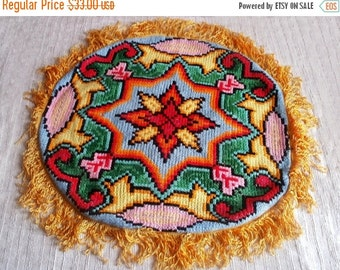 Decorative pillow case Round throw pillow Cross stitch turkish pillow cower Cushion cover Bright pillow case Bohemian decor Rustic decor