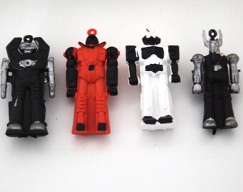 Vintage 80s robot pencil topper erasers space men