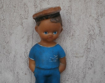 Antique Sailor Rubber Figure, Vintage Seaman Boy Squeeze Toy, Highly Collectible Value, Pre-WWII