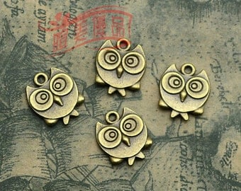 10pcs 17x14mm Antique bronze lovely owl pendant charm