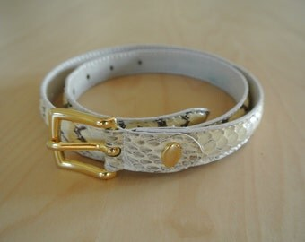 Snakeskin Genuine Leather Belt Made in Italy by Marco Bianchini Python Reptile