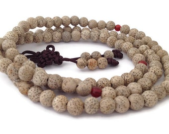 Tibetan Lotus Seed 108 Beads Stretch Full Mala Necklace for Meditation and Yoga