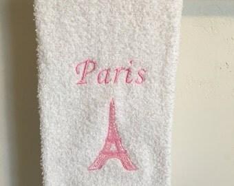 Embroidered ~Pink PARIS EIFFEL TOWER~ Kitchen Bath Hand Towel