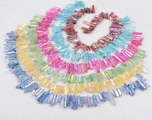 "16"" Strand Of Rainbow Aura Quartz Titanium Druzy Quartz Crystal Point Loose Beads Drilled Stick Raw Quartz Pendant Handmade Craft G0796"
