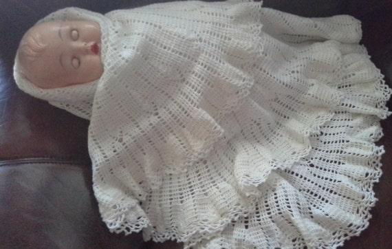 baby shawl handmade crocheted white cream circular round large