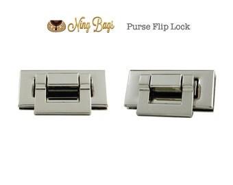 Set of 2 // Stylish Flip Lock, Twist Lock, Turn Lock, Rectangular Metal Lock for Purses - Handbags in Nickel