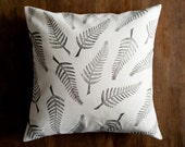 Stamped ferns pillow cover, nature inspired cushion cover, hemp organic cotton throw pillow, eco friendly holiday gift, patterned home decor