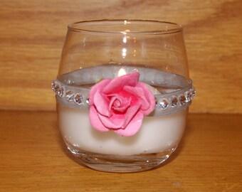 Pink and Gray Wedding Decor / Wedding Votive Candle Holder / Pastel Wedding / Bling Wedding Decor / Cake Table Decor / Rhinestone Votive / 5