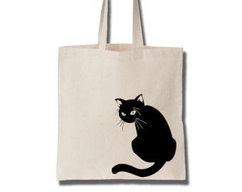 The Black Cat Cotton Tote Bag Canvas Bag Women