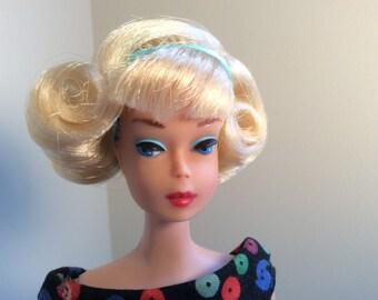 OOAK Blonde American Girl Side Part Bendable Leg Barbie Doll Comes Wearing Apple Sheath