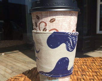eco friendly coffee cozy, coffee sleeve with Octopus and Whale