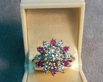 Vintage Diamond Ruby Cluster Ring 14K Gold Multi Stones Stunning Sparkle Amazing Statement
