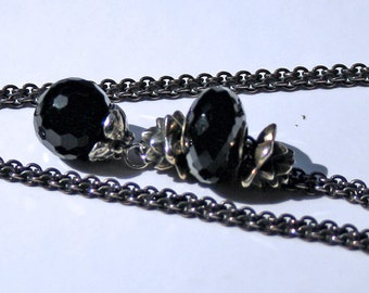 925 Silver Fantasy  Necklace with Onyx