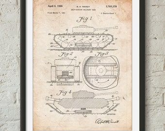 Military Self Digging Tank Patent Poster, Artillery, Gun Enthusiast, Man Cave, Military Gift, Army Tank, PP0262