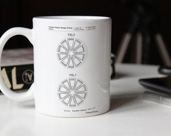 Honda Car Wheel Patent Mug, Car Part Mug, Automotive Decor, Car Blueprint, Mechanic Gift, PP0881
