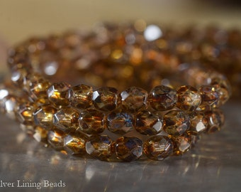 NEW! Toasted Crystal Mamas (30) - Czech Glass Bead - 6mm - Faceted Round