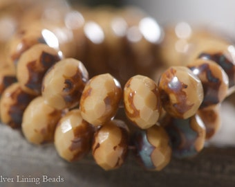 Caramel Creme (10) - Czech Glass Bead - 6x8mm - Faceted Rondelle
