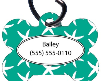 Custom Pet Tag, Dog Tag, One Sided, Personalized, ID Tag, Bone Shaped, Aluminum, Teal Starfish, Color Choice, Name, Phone Number