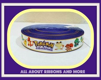 7/8 Inch Pokemon Grosgrain Ribbon