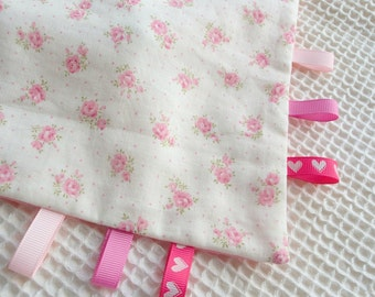 Taggie Blanket,Rattle Toy,Pink Flower Floral,Girl,Super Soft Cotton,Tag Blankie,Baby Comforter,