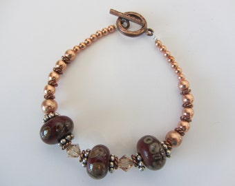 Awesome Copper & Lampwork Glass Bead Bracelet