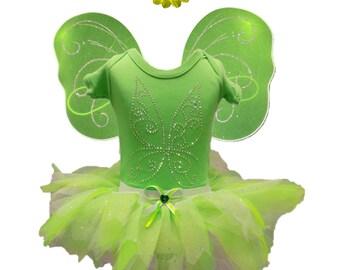 Baby Toddler Girl Fairy Fancy Dress Tinkerbell Costume Tutu Set  Wings Popper Vest T-Shirt Kids 1 - 5