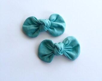 Teal Mini Piggy Knot Bow Set