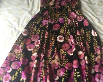 France. The Pansies Paradise. Most Gorgeous Flowers Floral Print. MIDI Dress S small 1960 s 60 s
