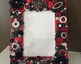 Black/Red Embellished Picture Frame