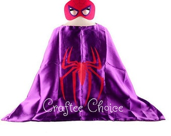 Spidergirl and mask set/ superhero/ childrens cape/ costume/party favor/kids/girls/ pink/ Stocking Stuffer/ Christmas