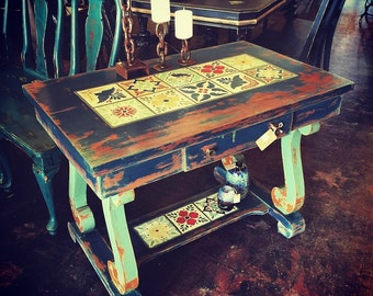 Stunning Up cycled Vintage Library Table