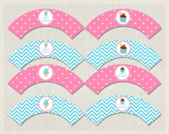Ice Cream Cupcake Wrappers Birthday Blue Pink 1st 2nd 3rd Printable Girl IV-13