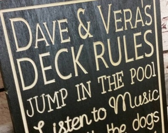 Deck Rules sign, Patio Rules Sign, Porch rules outdoor living Sign Carved Engraved 12x24 carved