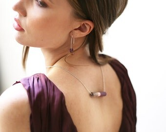 ALMA // pendentif en cuivre et résine violine et marron marbré sur chaîne ou fil de jade