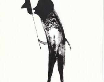 Solo No6. papercut, ink, primative, folk art
