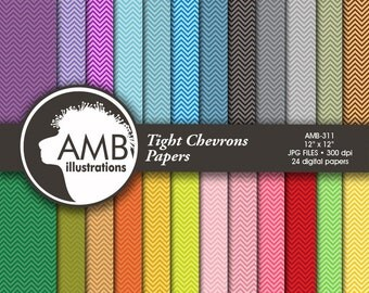 Chevron digital papers, Multi-colored Chevrons, patterned backgrounds, commercial use, AMB-311