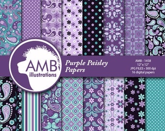 Paisley Digital Papers, Shabby Chic, Floral Digital Papers, Purple Paisley Floral Pattern, Scrapbook Paper, Commercial Use, AMB-1458