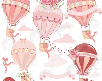 Wedding clipart, Hot Air Balloon Clipart, Bridal Shower clipart,  Floral clipart, Hotair ballon clipart, commercial use, AMB-1231