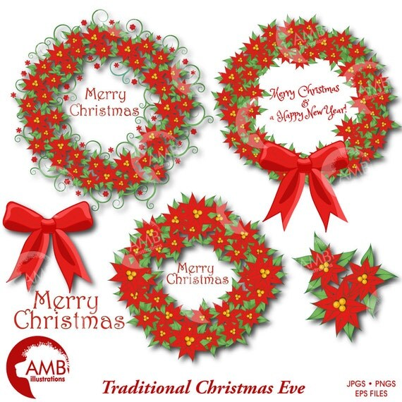 Christmas Wreath Clipart Vintage Traditional