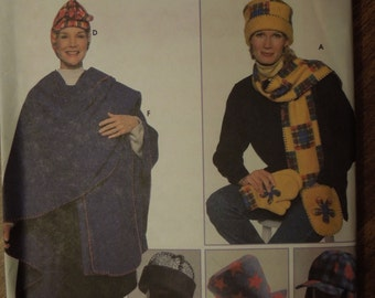 Simplicity 7943, womens accessories, hats, scarves, mittens, wrap, UNCUT sewing pattern, craft supplies, teens, misses