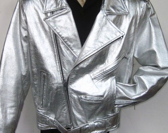 Stunning Vintage L.A. ROXX SILVER Leather Motorbike Men's Jacket-Size Large Classic Biker Design Multi Zippers Beautifully Handcrafted Rare
