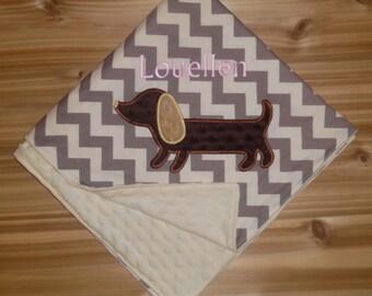 Dachshund Blanket - Custom Monogrammed Minky Baby Blanket -  Chevron & Minky