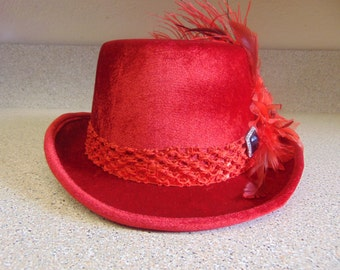 Red Velvet Party Red Hat Society Costume Top Hat