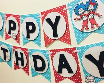 Thing 1 and thing 2 birthday banner/ twins