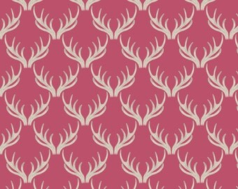 Lewis & Irene Patchwork Quilting Fabric A Walk in the Glen - A157.2 Antlers on Rose
