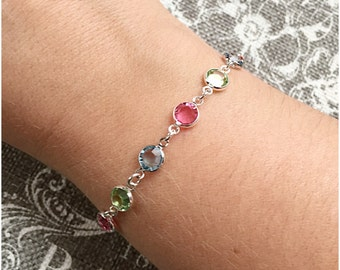 Multicolor Crystal Bracelet - Swarovski Crystal Bracelet - Rainbow Bracelet - Birthstone Bracelet - Colorful Bracelet - Gold or Silver Links