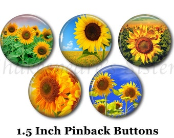 "Sunflower Pins - Flower Pins - 5 Pinback Buttons - 1.5"" Pinbacks - Sunflower Pinback Buttons"