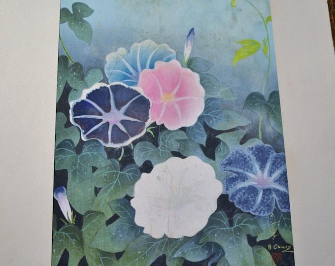 Bakufu Ohno Bird Morning Glory Flower Vine Woodblock Unframed Signed Japanese Asian Mid Century Art Panchosporch