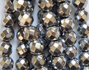 """Faceted Hematite Round Beads 6 mm, Silver Hematite - Full Strand 15 1/2"""", 72 beads, AA - Quality"""