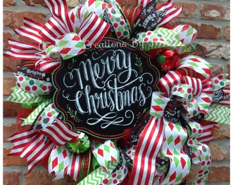 Christmas Wreath - Merry Christmas Wreath -  Holiday Wreath - Christmas Decor - Whimsical Wreath - Deco Mesh Wreath - Door Decor